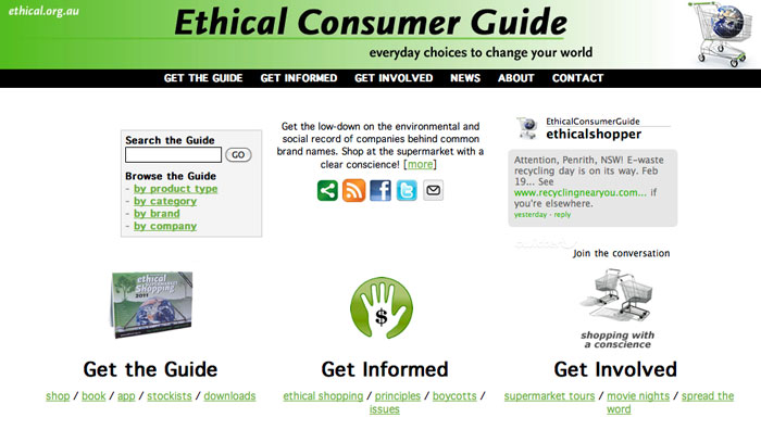 Image of the Ethical Consumer Guide web site